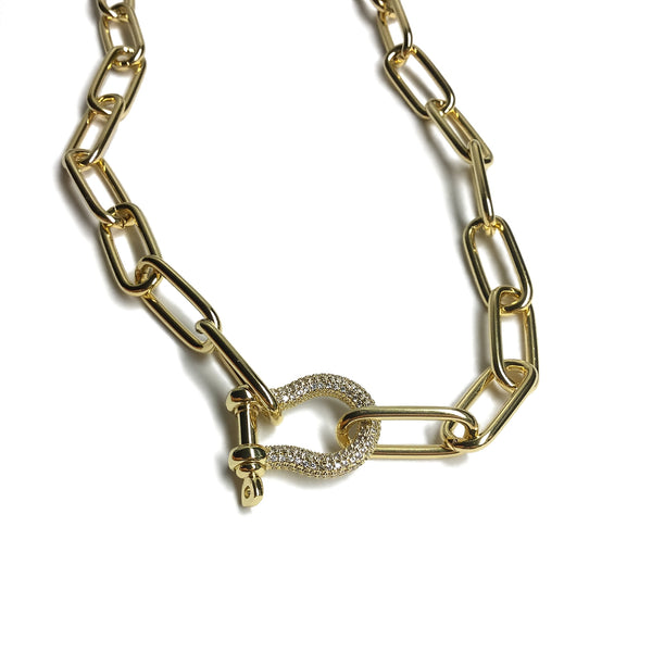 carabiner screw cubic zirconia paperclip chain necklace