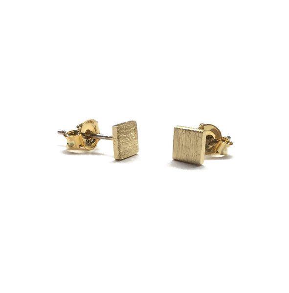 gold plated over brassmatte square stud earrings with sterling silver posts
