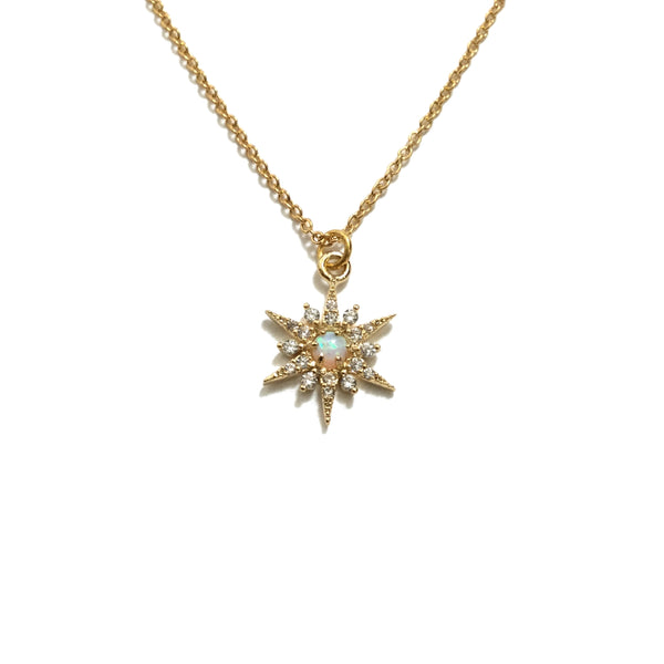Sparkly Opal Star Cubic Zirconia Necklace