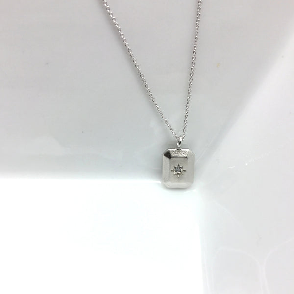 silver rectangle north star necklace