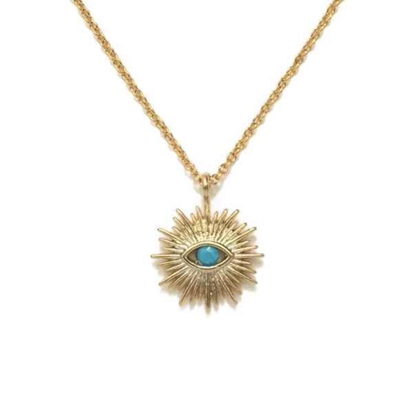 Gold plated evil eye with turquoise stone sunburst necklace