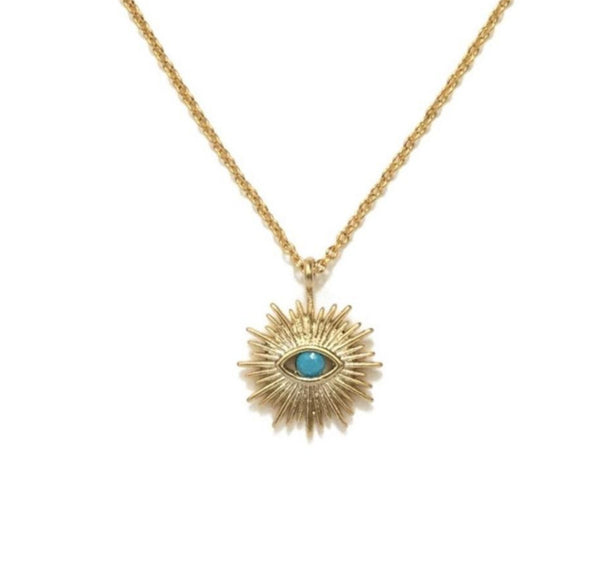 Evil eye gold plated sunburst with a tiny turquoise stone necklace
