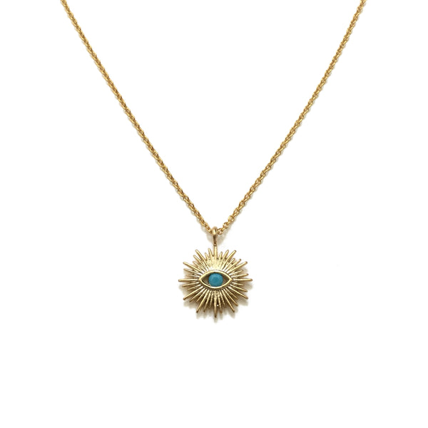 Gold Evil Eye Turquoise Sunburst Necklace