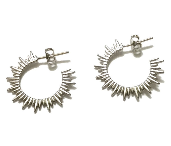 Silver rhodium plated matte sunburst hoop earrings with sterling silver posts
