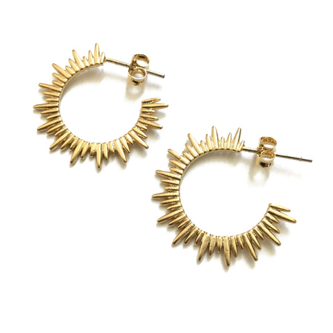 Gold plated matte sunburst hoop earring with sterling silver posts