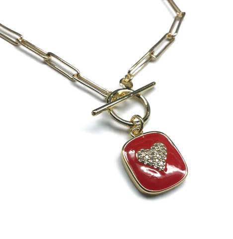 Cubic Zirconia Heart Paperclip Necklace