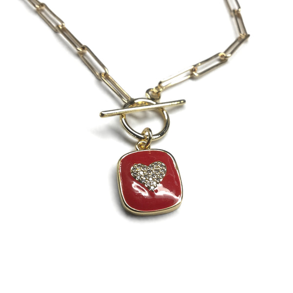 gold paperclip chain necklace cz heart red pendant necklace