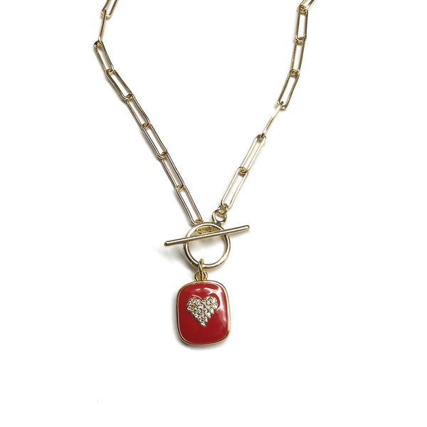 cubic zirconia heart pendant paperclip chain necklace