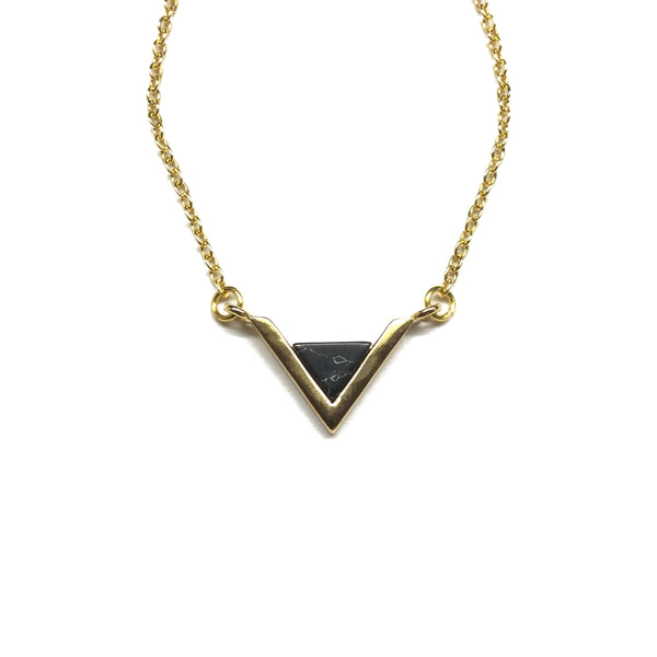 Gold plated Triangle Black Howlite necklace