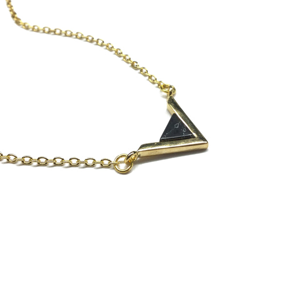 Gold plated triangle necklace