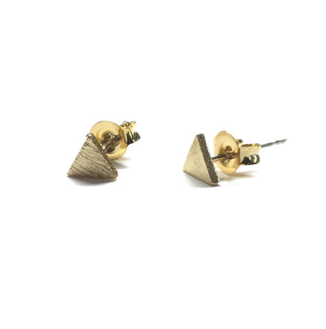 Gold plated triangle stud post earrings with sterling silver posts