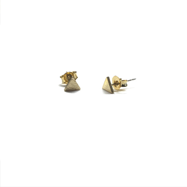 Gold plated matte triangle stud earrings with sterling silver posts