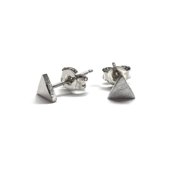Silver plated matte geometric triangle stud earrings with sterling silver posts
