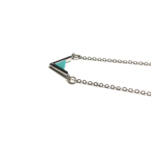 silver geometric triangle necklace