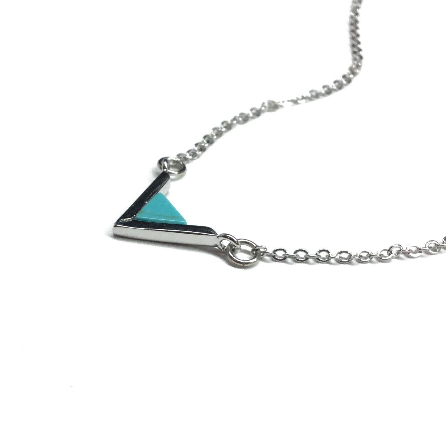 Silver plated turquoise howlite geometric triangle necklace