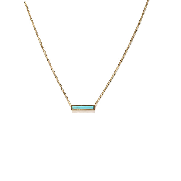 Tiny Turquoise Bar Gold Plated Necklace