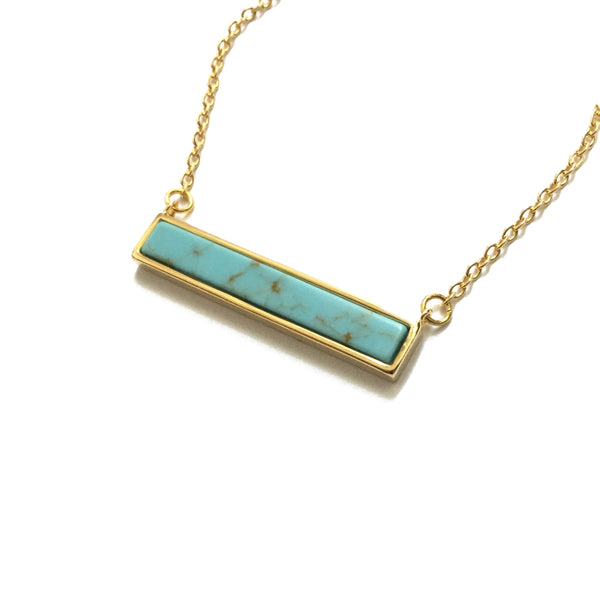 Gold plated turquoise bar necklace
