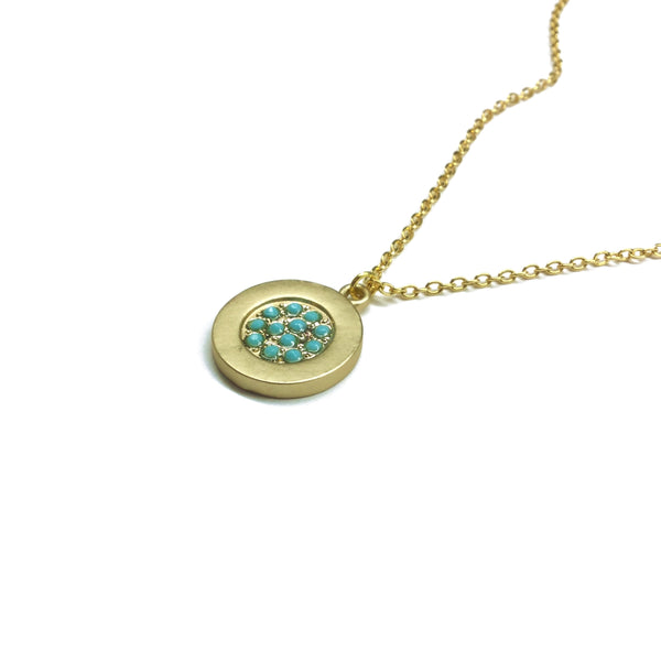 Gold plated matte coin with tiny turquoise glass bead necklace