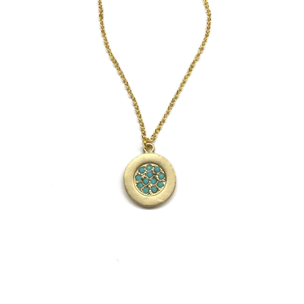 Gold plated matte coin with tiny turquoise glass bead and gold plated chain necklace