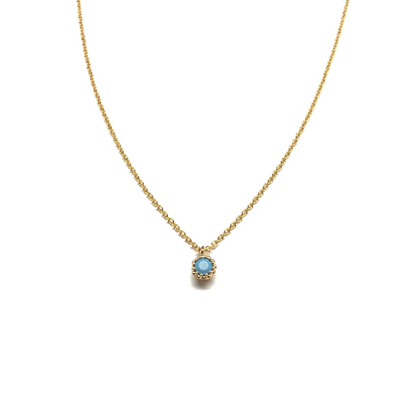 Tiny gold plated turquoise round pendant necklace