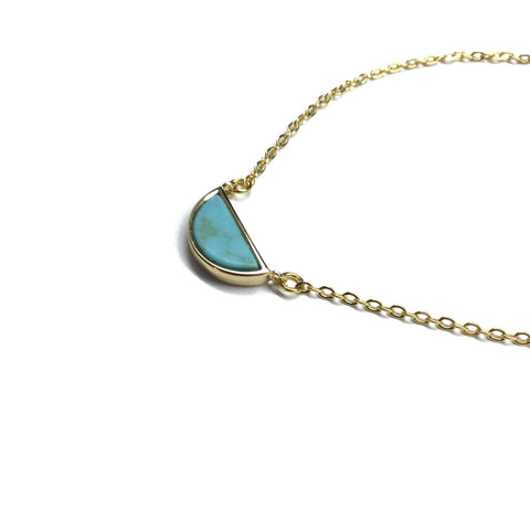 Turquoise half moon gold plated necklace