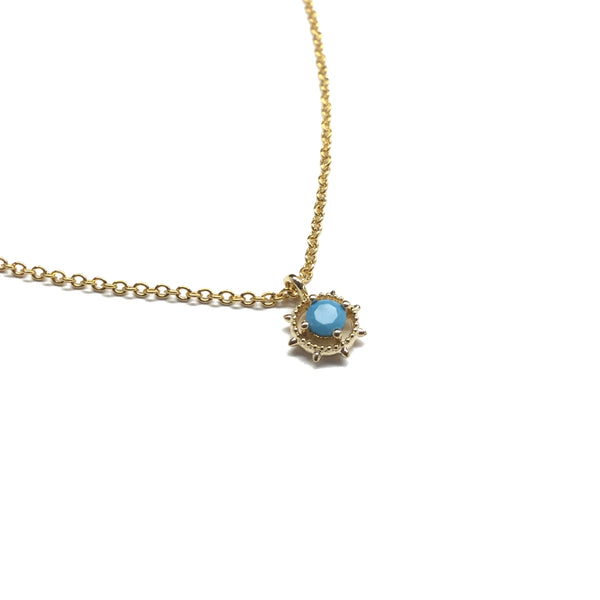 Tiny gold plated tiny bezel set turquoise Necklace