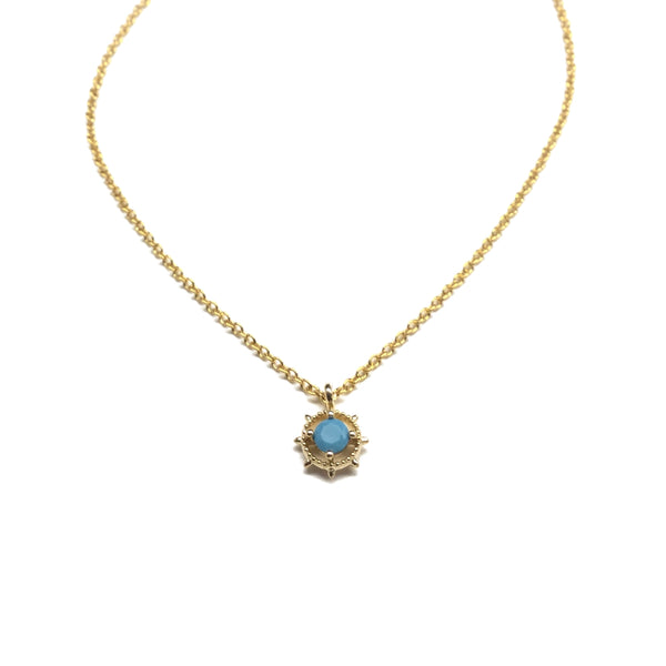 Gold plated tiny bezel set turquoise Necklace