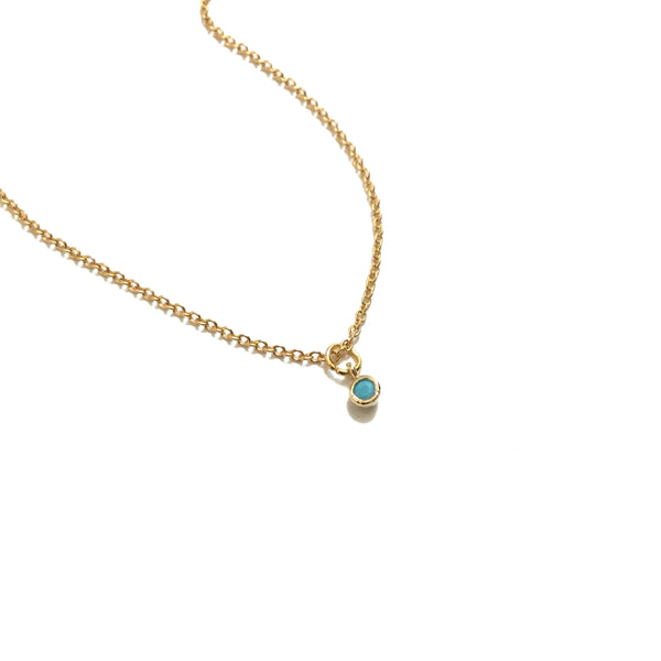 tiny turquoise drop necklace