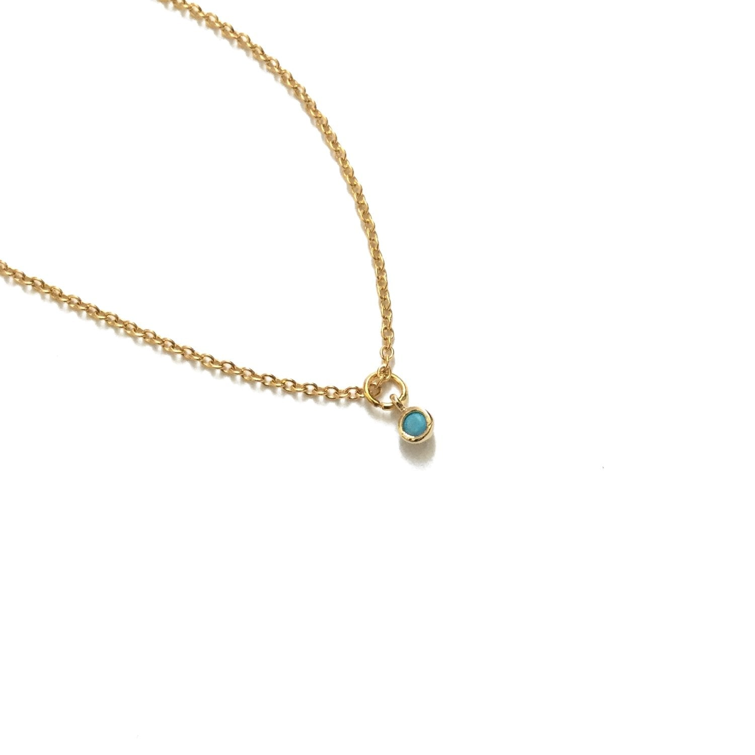dainty turquoise drop pendant necklace