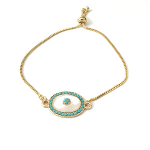 Turquoise evil eye mother of pearl adjustable bracelet
