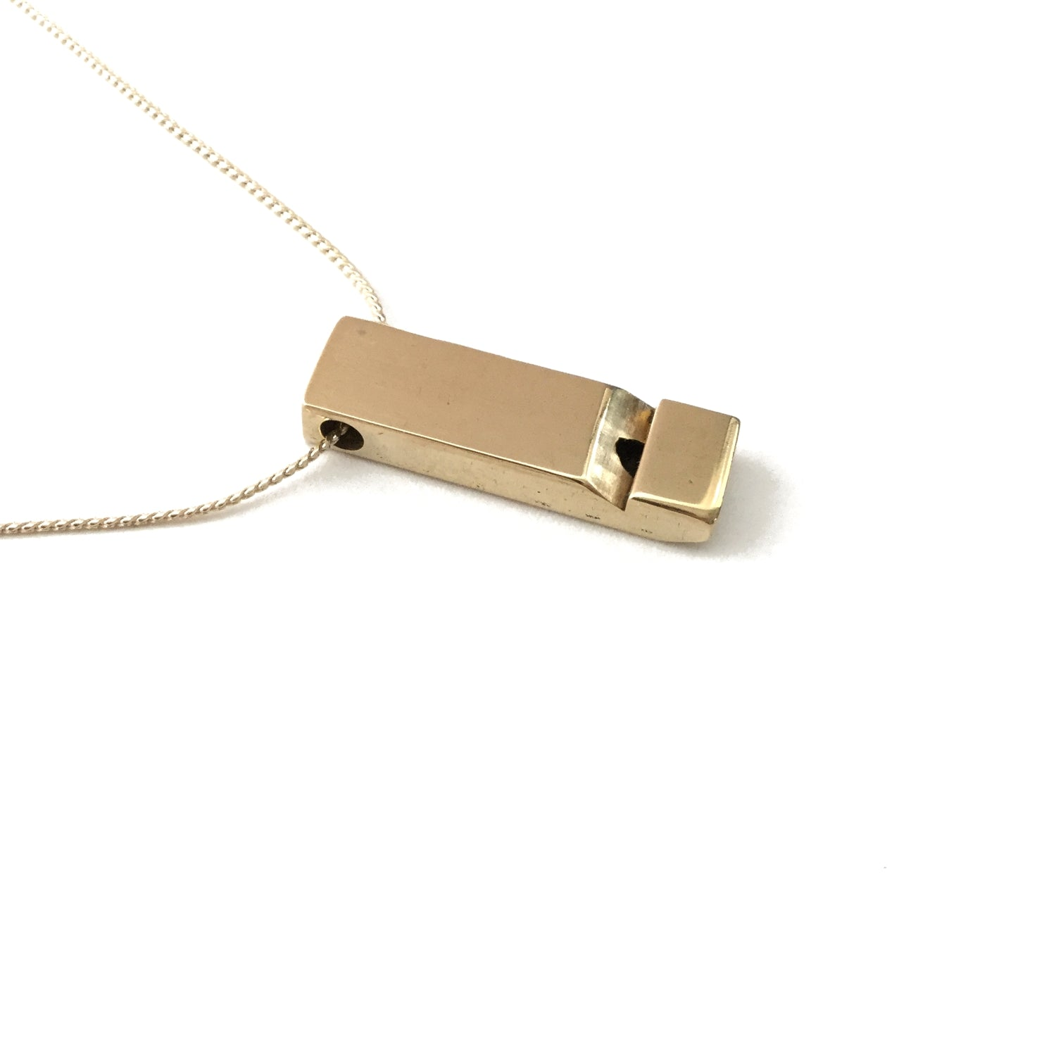 Medium polished solid brass vintage whistle gold plated thread necklace