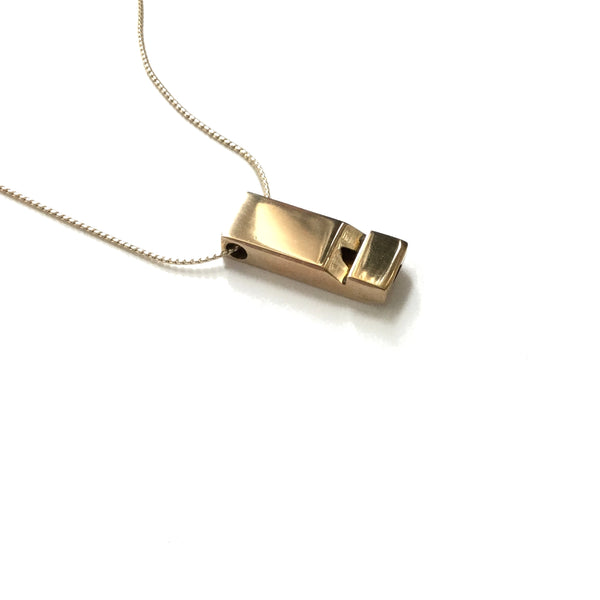 Small solid golden brass vintage whistle pendant necklace