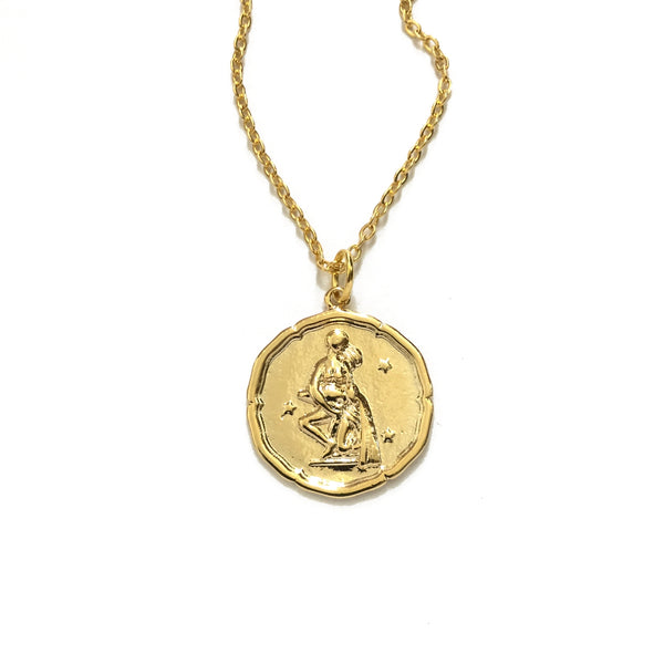 Gold plated zodiac disc coin necklace