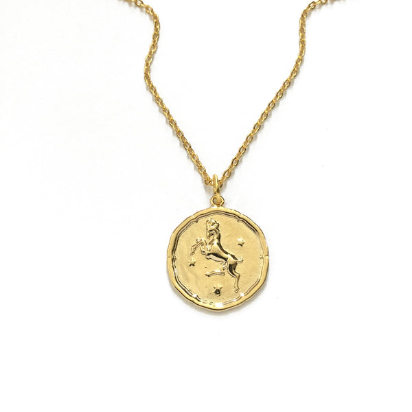 Gold Plated Zodiac Disc Necklaces
