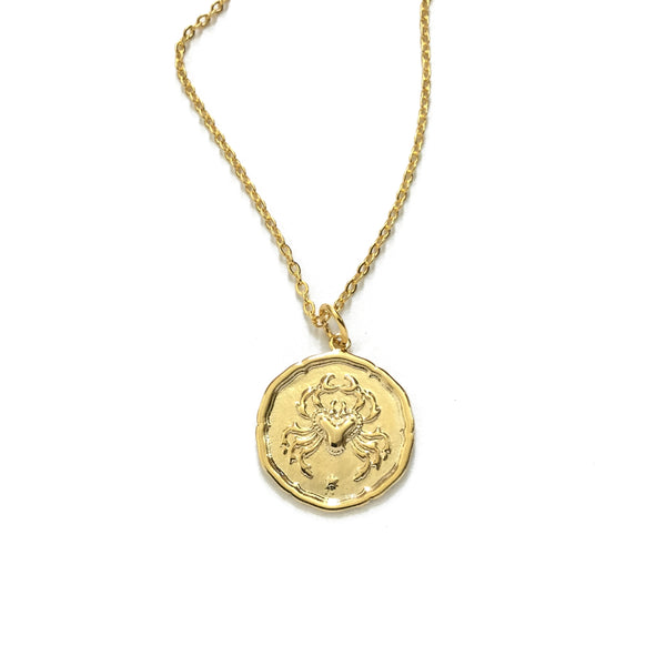 Gold plated horoscope zodiac sign necklace