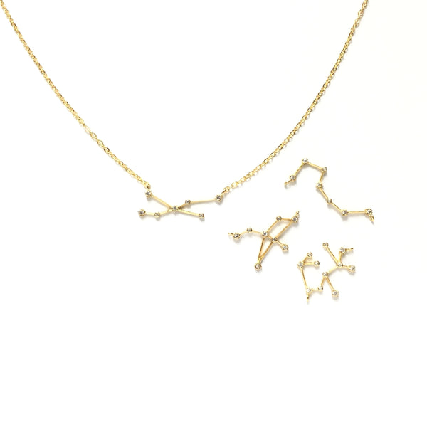 Gold plated geometric astrology zodiac cubic zirconia necklace