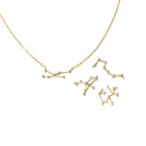 Gold plated horoscope zodiac cubic zirconia necklace