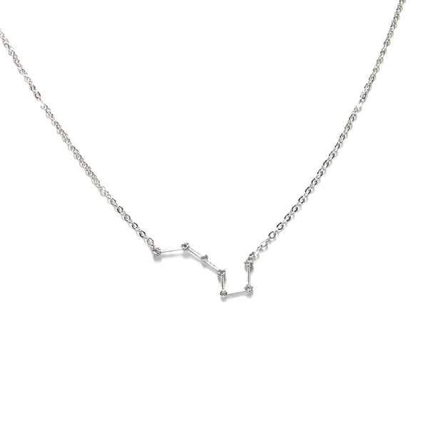 Silver plated zodiac sign cubic zirconia necklace