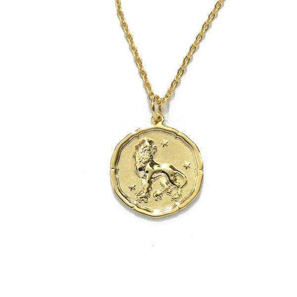 Gold Plated Zodiac Coin Necklaces