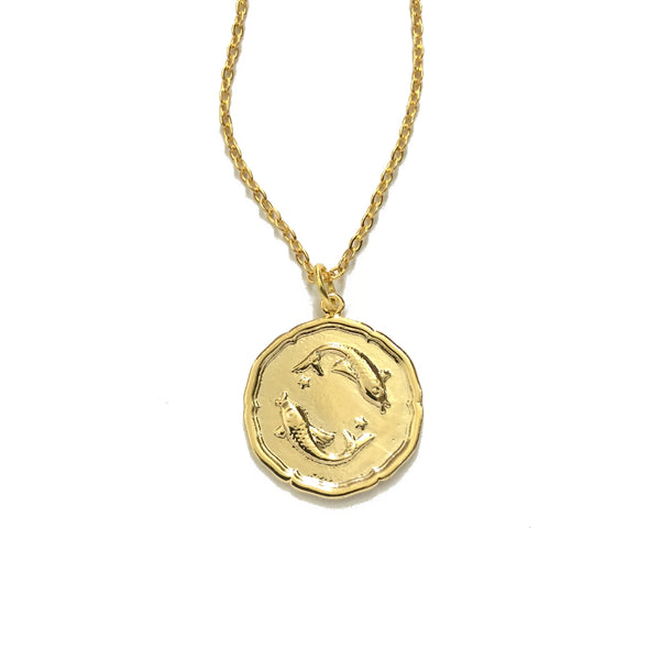 Gold plated pisces disc necklace