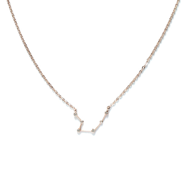 Rose gold zodiac cubic zirconia necklace