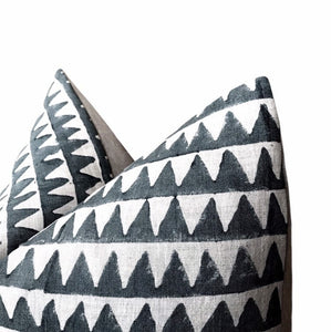 Walter G Textiles Designer Pillows // Pyramids Slate Linen Pillow