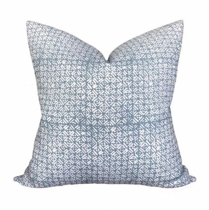 Walter G Batik Dusk Linen Pillow Cover // Light Blue Designer Throw PIllows
