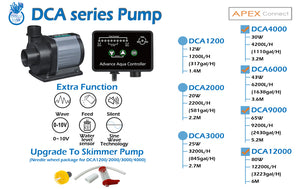 """Coral Box DCA 1200"" Apex-Ready, Battery Backup Compatible, Float Switch Shutoff, Sine Wave Silent DC Adjustable Return Pump (up to 300 GPH┃US-Based 12 Month Warranty)"