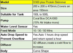 """Coral Box D300+"" DC Controllable, Float Valve Auto Shutoff, Battery Backup Compatible Protein Skimmer (40-100 Gallon Full System Capacity)"