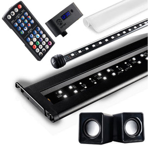 """Serene Ambience Lighting System"" Freshwater LED Chromotherapy Aquarium Full Lighting and Audio Bundle (Primary LED Light, LED Backlight, Frosted Glass Background Film, Audio Speakers, and Wireless Controller┃Available in 24"", 36"", 48"" and 72"" Long)"