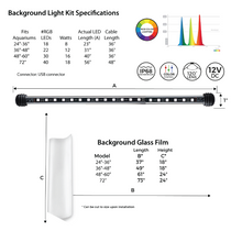 """Serene System"" Freshwater LED Ambient Chromotherapy Aquarium Full Lighting and Audio Bundle (Primary LED Light, LED Backlight, Frosted Glass Background Film, Audio Speakers, and Wireless Controller┃Available in 24"", 36"", 48"" and 72"" Long)"
