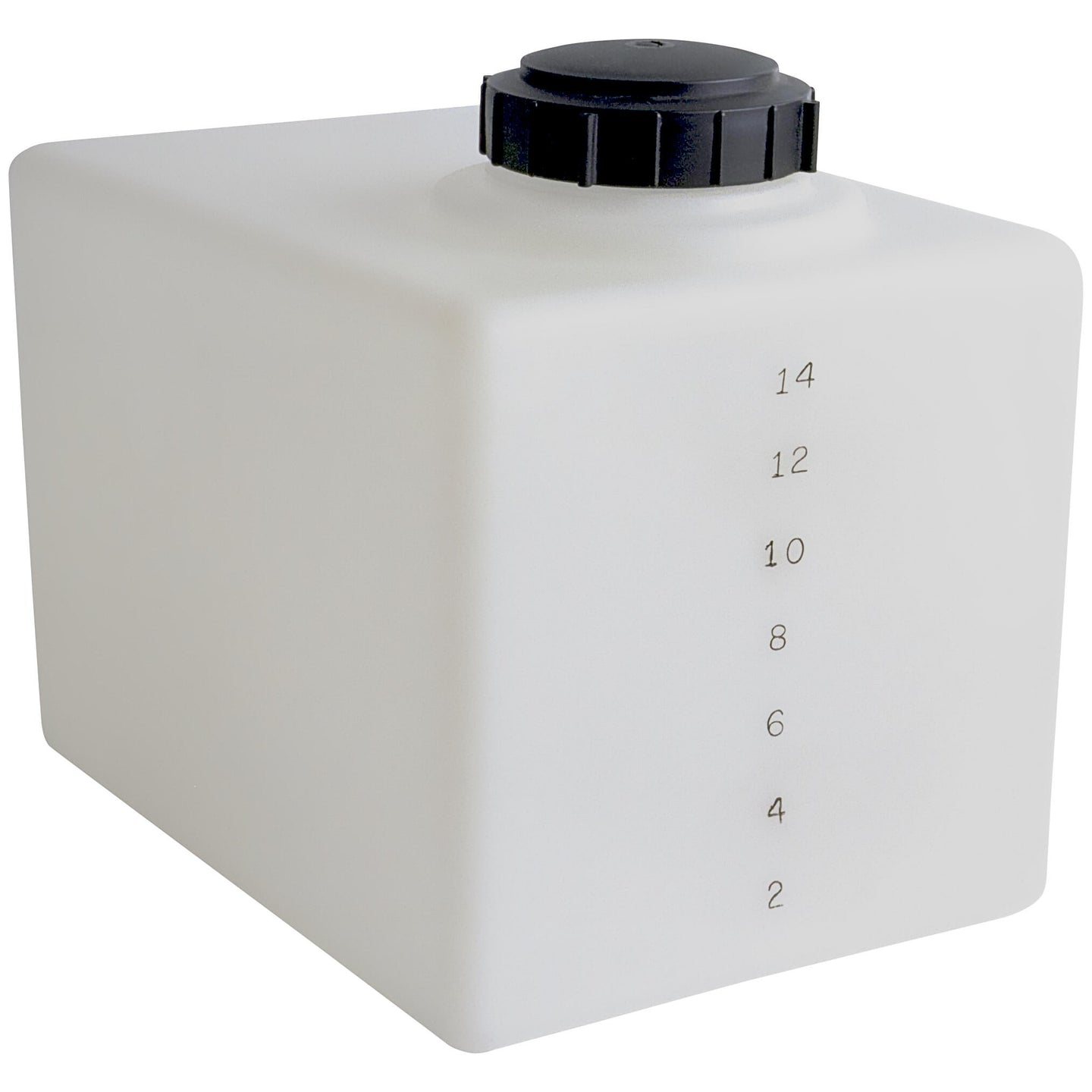 16 Gallon Flat Bottom Cube Water Storage and Salt Mixing Tank with Gallon Indicators and Threaded Lid (Shipping Included)