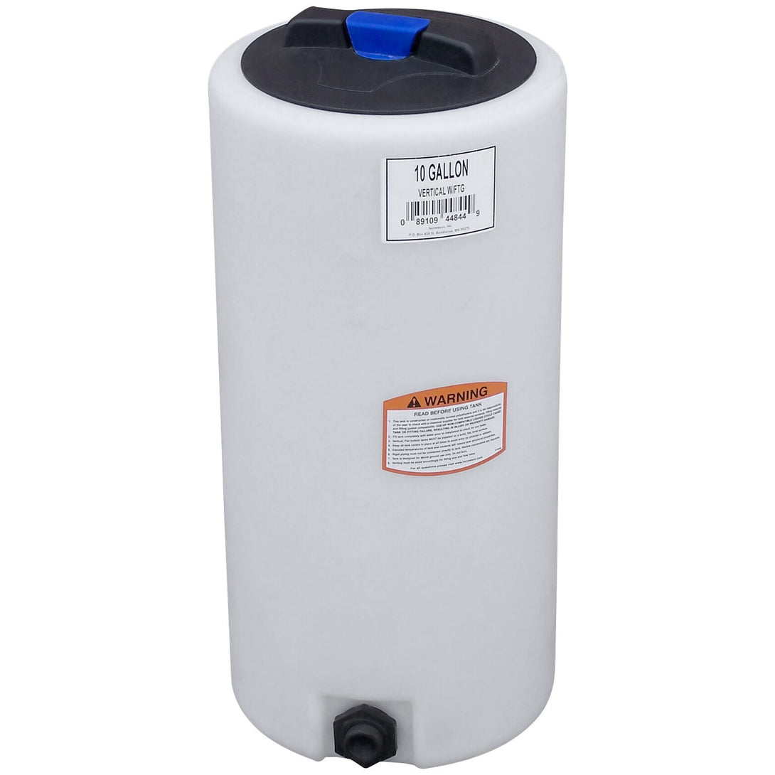 10 Gallon Flat Bottom Vertical Cylinder Water Storage and Salt Mixing Tank with Gallon Indicators, Threaded Lid, and Optional 3/4