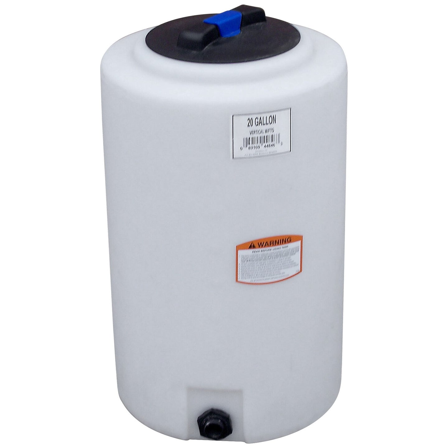 20 Gallon Flat Bottom Vertical Cylinder Water Storage and Salt Mixing Tank with Gallon Indicators, Threaded Lid, and Optional 3/4